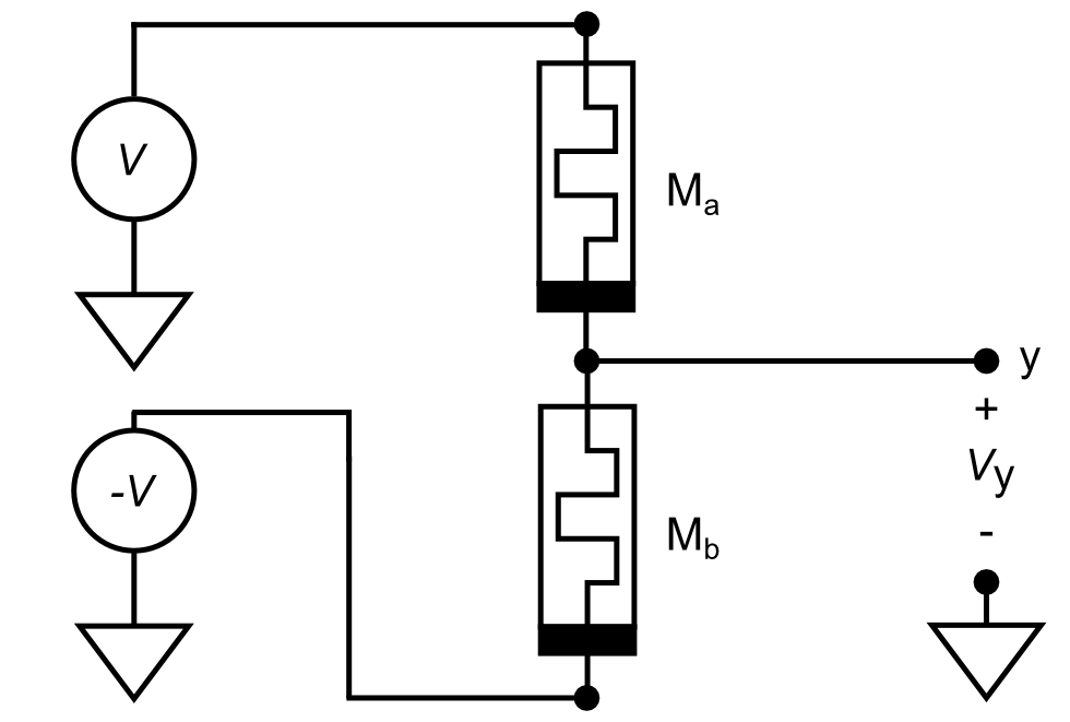 A differential pair of memristors forms a synapse.