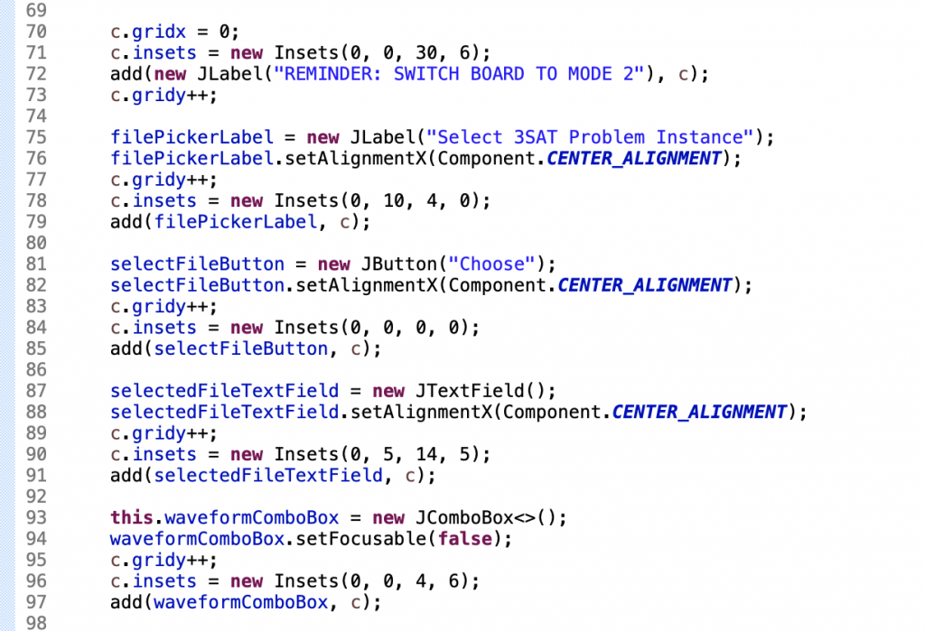 Add Java Swing components to control panel