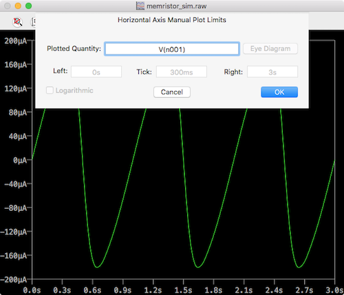ltspice memristor horizontal axis